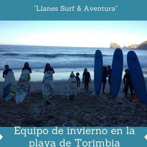 Escuela de surf. Equipo curso de surf Llanes Surf & Aventura